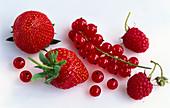 Red berries: strawberries, redcurrants, raspberries