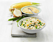 Vegetable rice with corn and peas