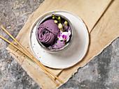 Purple Noodle Soup with Black Sesame Seeds