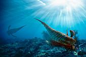 Sea scorpion hunting, illustration