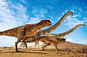 Carnotaurus dinosaurs, illustration