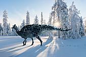 Corythosaurus dinosaur, illustration