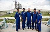 STS-8 crew at Kennedy Space Center, Florida, USA