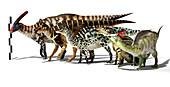 Group of Hadrosaurs, illustration