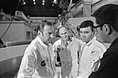 Apollo 13 crew during water egress training