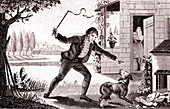 The Farmer, The Dog and The Fox, allegorical illustration