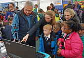 Children participating in a science fair