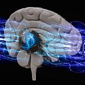 Brain-computer interface, conceptual illustration