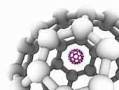 Buckyball C60 molecules, illustration