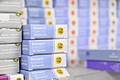 Stack of ramipril blood pressure drug boxes