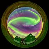 Aurora borealis, Greenland, 360 degree view