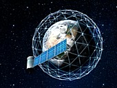 Space junk and satellite megaconstellations, illustration