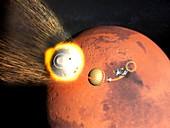 Mars 2020 spacecraft descending to Mars, illustration