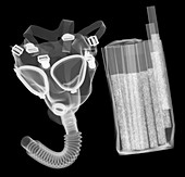 Gas mask and cigarettes, X-ray