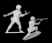 Plastic WWII toy soldiers, X-ray