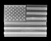 Wooden USA flag, X-ray
