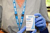 Dabrafenib cancer drug packaging