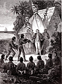 Captain James Cook in Hawaii, illustration