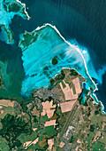 MV Wakashio oil spill, Mauritius, satellite image
