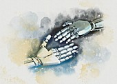 Robots shaking hands, illustration