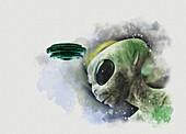 Alien and UFO, illustration