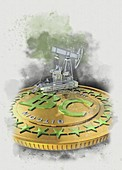 Bitcoin mining, conceptual illustration
