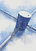 Oil drum and pipelines, conceptual illustration