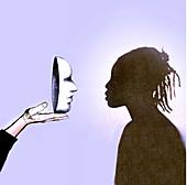 Black woman facing a white mask, illustration