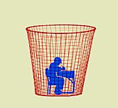 Schoolboy inside waste paper basket, illustration