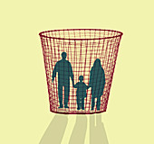 Family in a waste paper bin, illustration
