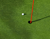 Golf ball close to a hole, illustration