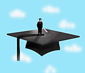 Graduate standing on mortarboard, illustration