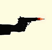 Pencil coming out of gun barrel, illustration