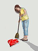 Broken heart, illustration