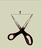 Tightrope walker between scissor blades, illustration