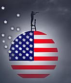 US response to coronavirus, conceptual illustration