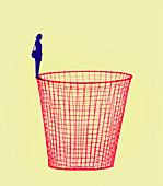 Woman standing on edge of waste paper basket, illustration
