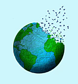 Earth disintegrating, illustration