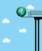 Earth balanced on edge of high diving board, illustration