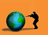 Global terrorism, conceptual illustration