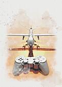 Drone warfare, conceptual illustration