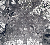 Snow covering Berlin, Germany, satellite image