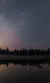 Night sky reflected in a lake