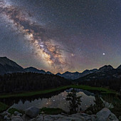 Milky Way over a mountain lake