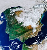Snow in Spain, January 2021, satellite image