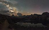Milky Way and Jupiter reflected in lake