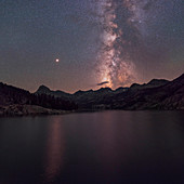 Milky Way and Mars over a mountain lake