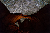 Star trails over Arches National Park, Utah, USA