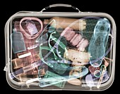 Full man's suitcase, X-ray
