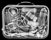Full man's suitcase, X-ray